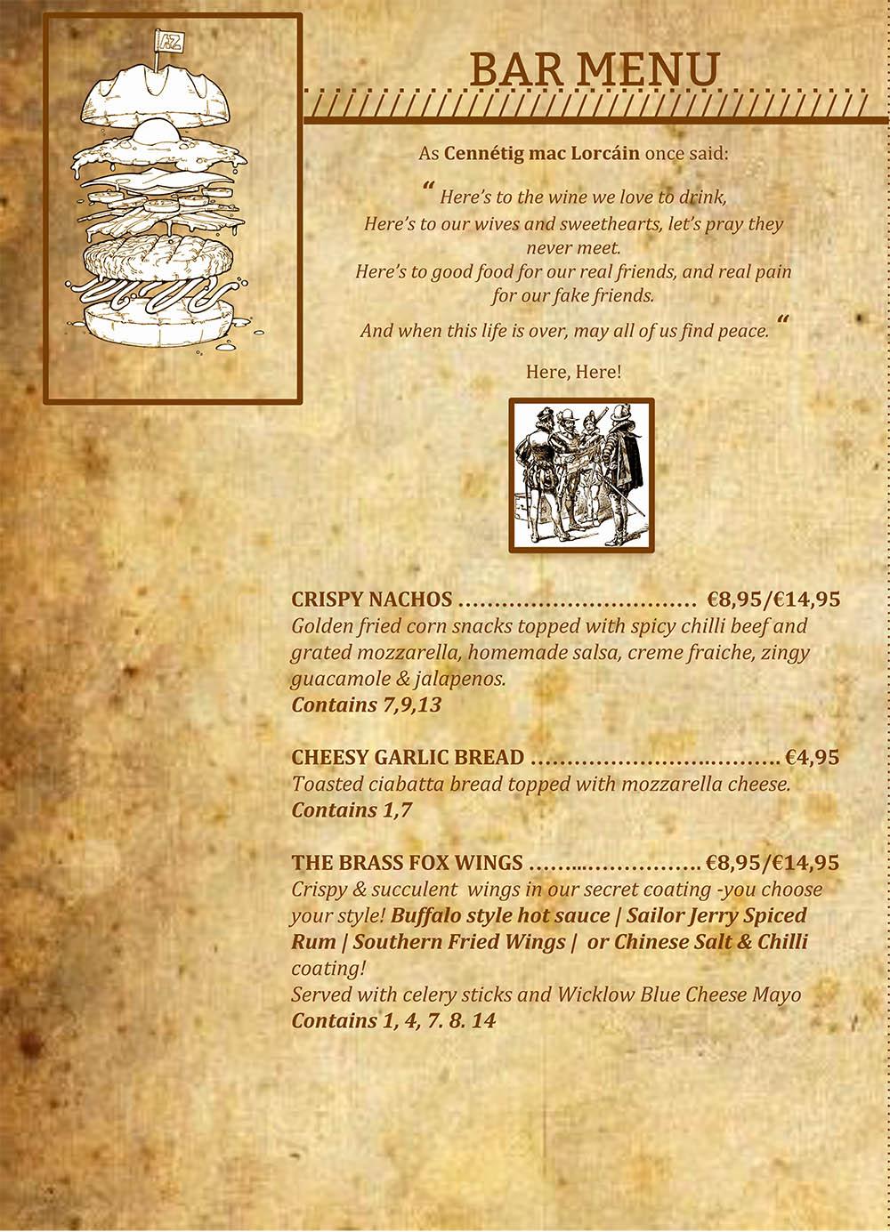 The Brass Fox, Tallaght - Evening Bar Menu